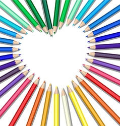 Colored pencils heart vector
