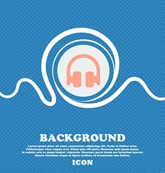 Headphones earphones sign icon blue and white vector