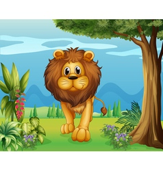 A big lion in the garden vector image
