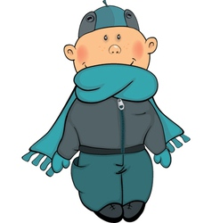 A boy in a winter jacket and a cap cartoon vector image vector image