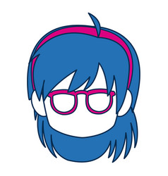 chibi anime girl face blue hair glasses vector image