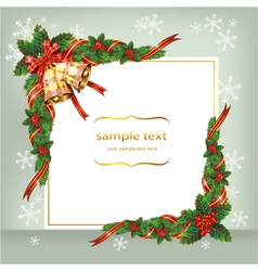 Christmas card with bells and berry vector image
