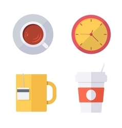 Coffee break or tea time icons vector
