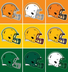 Colored football helmets in orange yellow green vector image