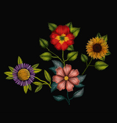 colorful flowers set plant embroidery in black vector image vector image