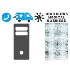 Computer Mainframe Icon with 1000 Medical Business vector image