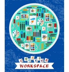 Creative and artistic workspace vector