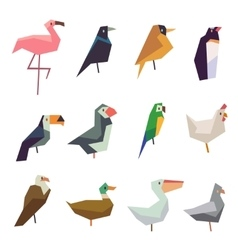 Cute birds flat icons set vector image