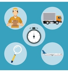 Delivery concept transport clock man plane vector