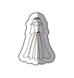 Elegant bride dress with veil icon vector