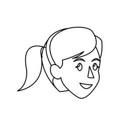 Face woman head ponytail diadem outline vector