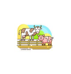 farm livestock line icon farming of vector image vector image