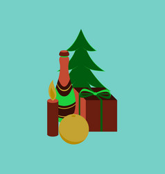 Flat on background of christmas gift vector