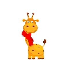 Funny small giraffe wearing scarf cute vector
