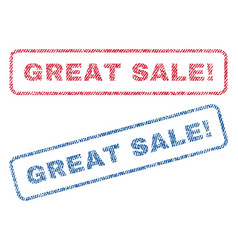 Great sale exclamation textile stamps vector