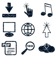 Internet icons set grunge vector