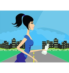 Jogging girl in city vector