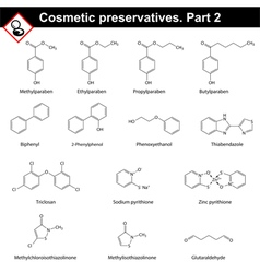 Molecular structures of cosmetic preservatives vector image vector image