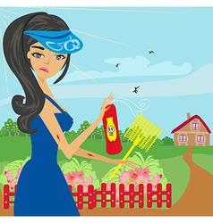 mosquito bites girl in the garden vector image