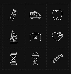 nine flat medicine icons vector image vector image