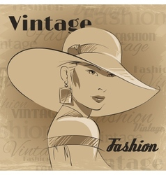 Retro poster of fashion young woman vector image vector image