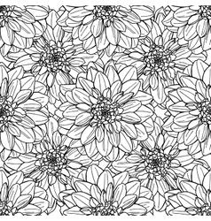 Seamless dahlia flower pattern Line art vector image vector image