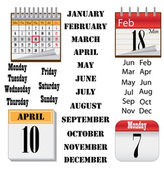 set of images of calendars vector image vector image