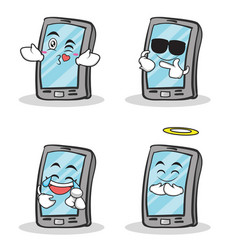 set smartphone cartoon character collection vector image