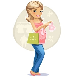 Shopping pregnant woman vector image