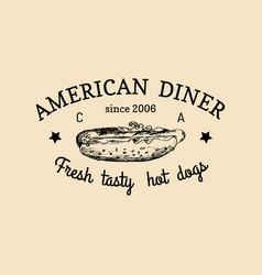Vintage fast food logo retro hand drawn vector