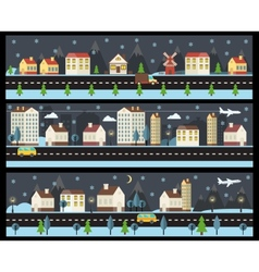 Winter cityscape in flat style vector image vector image