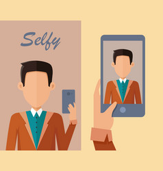 young man making selfie vector image vector image