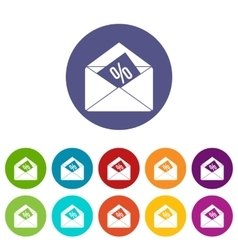 Envelope with percentage set icons vector