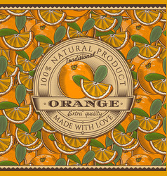 Vintage orange label on seamless pattern vector