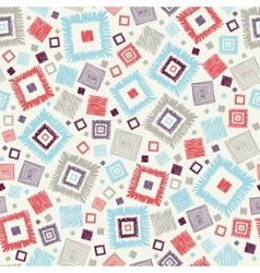 Textured geometric squares seamless pattern vector