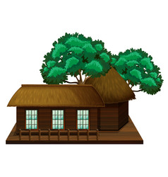 Wooden hut with trees vector