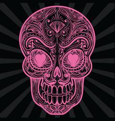 pink mexican sugar skull tatoo vector image