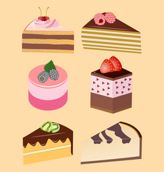 Pieces of cakes and pastries vector