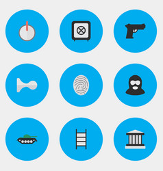 Set of simple crime icons elements criminal vector