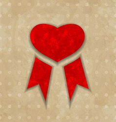 Award ribbon heart for valentines day vintage vector