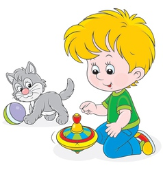 Boy plays with a whirligig and kitten vector