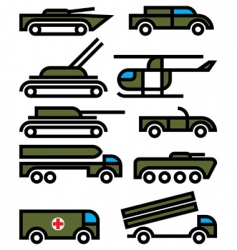 Military vehicles and equipment vector