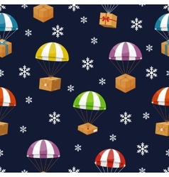 Gift delivery in winter sky with snowflakes vector
