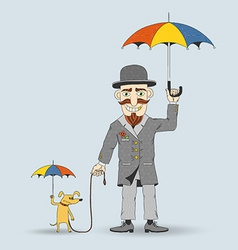 Old fashioned cartoon man with hat vector