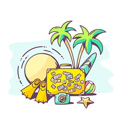 Summer holiday on blue background vector