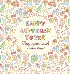 Happy birthday party greeting card with hand drawn vector