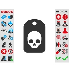 Skull label icon vector