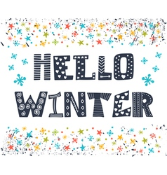 Hello winter greeting card winter concept card vector