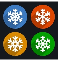 Snowflakes flat style icons set vector