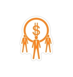 Stylish sticker on paper coin and businessmen vector